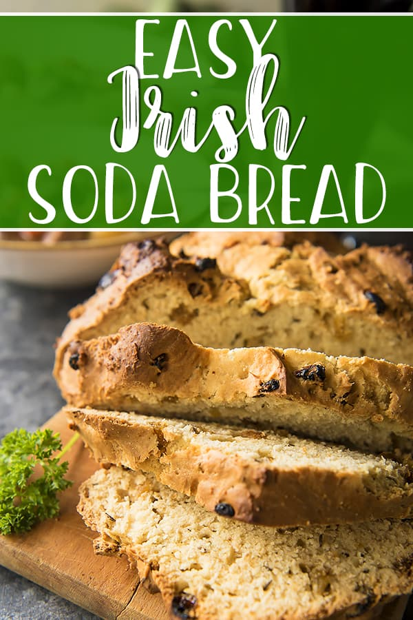 Everyone is Irish for one day in March and a loaf of this easy Irish Soda Bread is a worthy addition to any St. Patrick's Day meal! This traditional recipe calls for mostly pantry items, with a handful of raisins and caraway seeds tossed in for a sweet and savory texture and flavor.