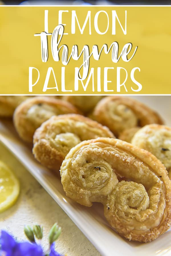 Get a sweet dose of citrus with a few of these super easy, 4-ingredient Lemon Thyme Palmiers! Sheets of buttery store-bought puff pastry are transformed into crispy springtime treats with some help from a bit of sugar, lemon zest, and fresh thyme.