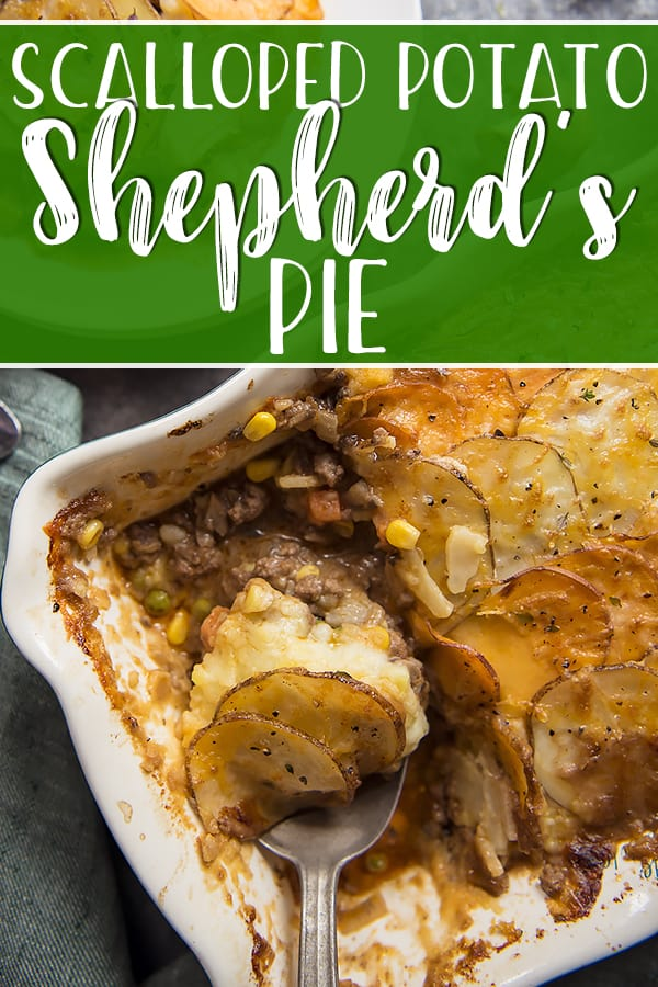 Irish comfort food at it's finest, this Scalloped Potato Beef and Mushroom Shepherd's Pie puts a heartier spin on the classic. Ground beef, onions, and diced veggies are mixed with chopped mushrooms, then topped with mashed potato,then another layer of scalloped potatoes.