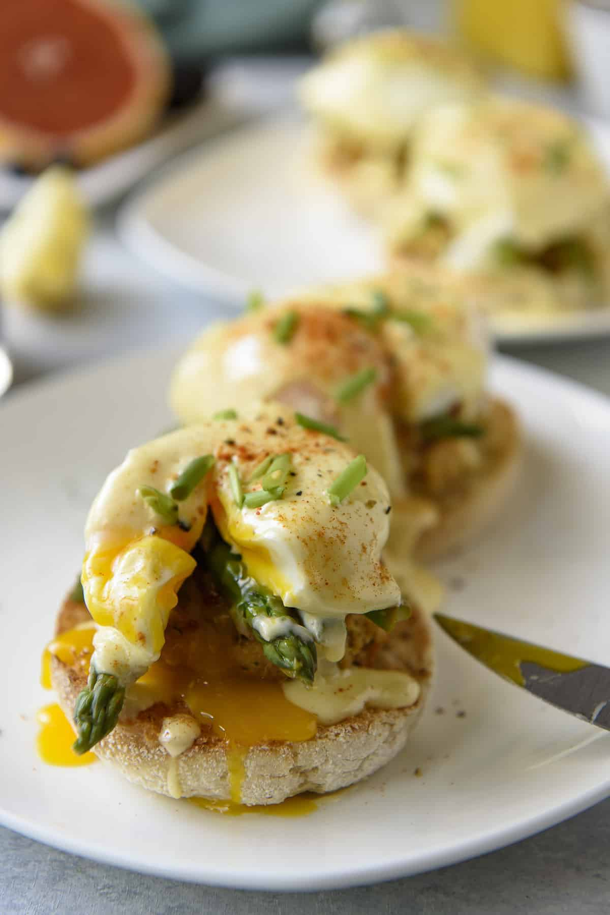 Asparagus and Crab Cake Benedict #BrunchWeek