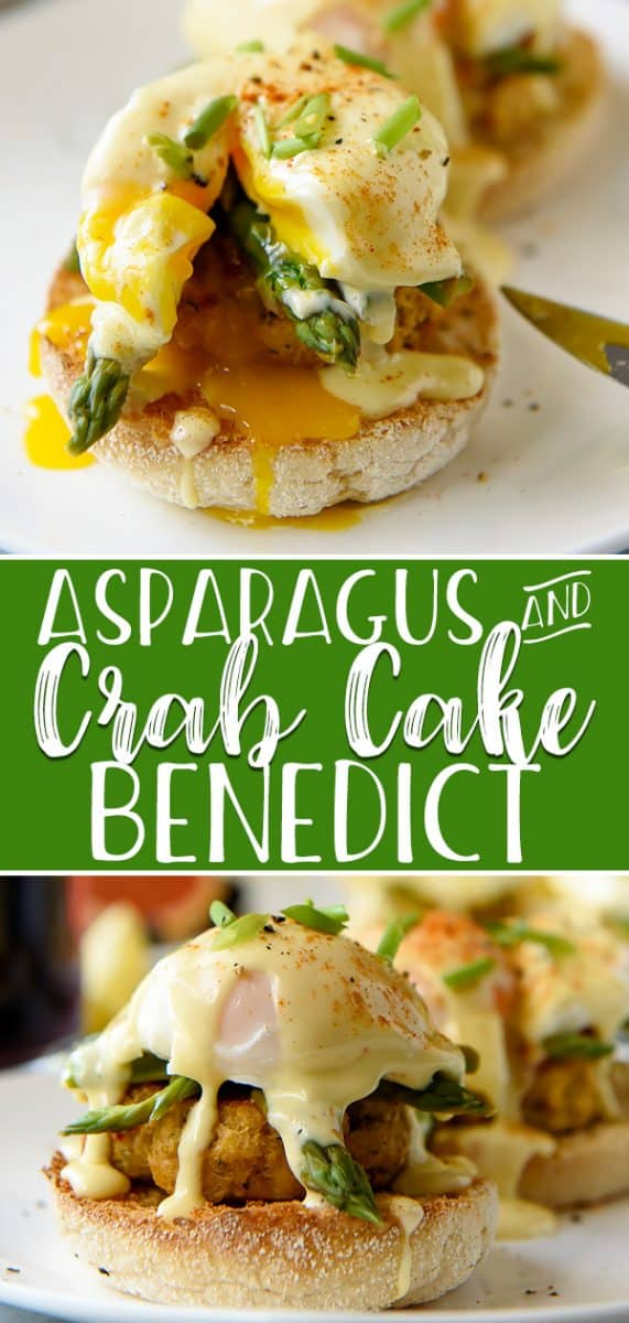 This Asparagus and Crab Cake Benedict was made for brunch! Skip the ham and opt for rich lump crab cakes, lemony blanched asparagus, and poached eggs set on top of a buttery English muffin, then drizzled with the easiest, creamiest 1-minute Hollandaise sauce in the world!