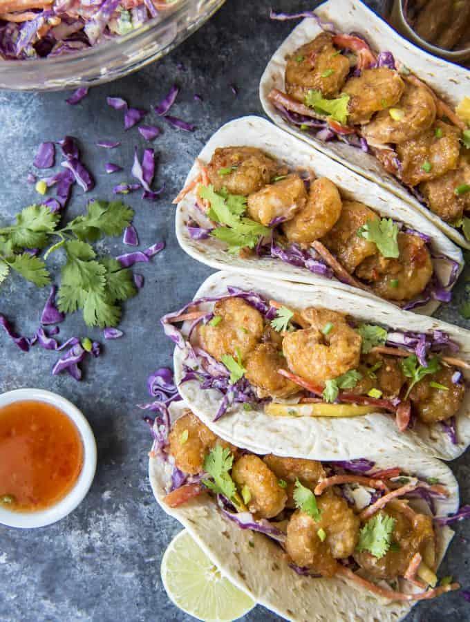 Bang Bang Shrimp Tacos Recipe with Coconut Mango Slaw
