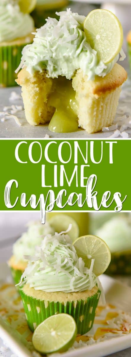 These Coconut Lime Cupcakes are the sweet-tart springtime treats of your dreams, and perfect for lovers of the tropics! Fluffy coconut-infused cupcakes are stuffed with tangy key lime curd, then topped with a crown of lime cream cheese buttercream and a sprinkle of flaked coconut.