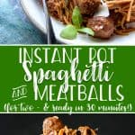 This quick, easy, extra saucy Instant Pot Spaghetti and Meatballs dinner is made entirely in one pot, including the noodles! The delicious homemade meatballs in this recipe come together quickly, and making them in advance cuts the time from prep to plate to just 30 minutes!