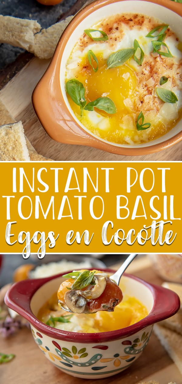 Switch up your usual eggs-for-breakfast game with these Instant Pot Tomato Basil Eggs en Cocotte! This simple, flavorful French recipe is perfect for breakfast or brunch and is delicious served with runny yolks, a dash of hot sauce, and slices of crusty bread or toasted English muffins.