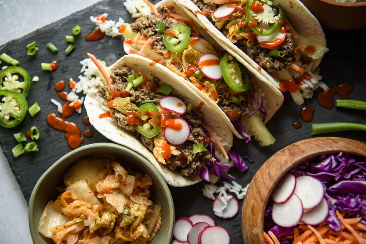 Korean Ground Beef Bulgogi Tacos • The Crumby Kitchen