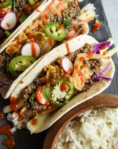 Korean Ground Beef Bulgogi Tacos