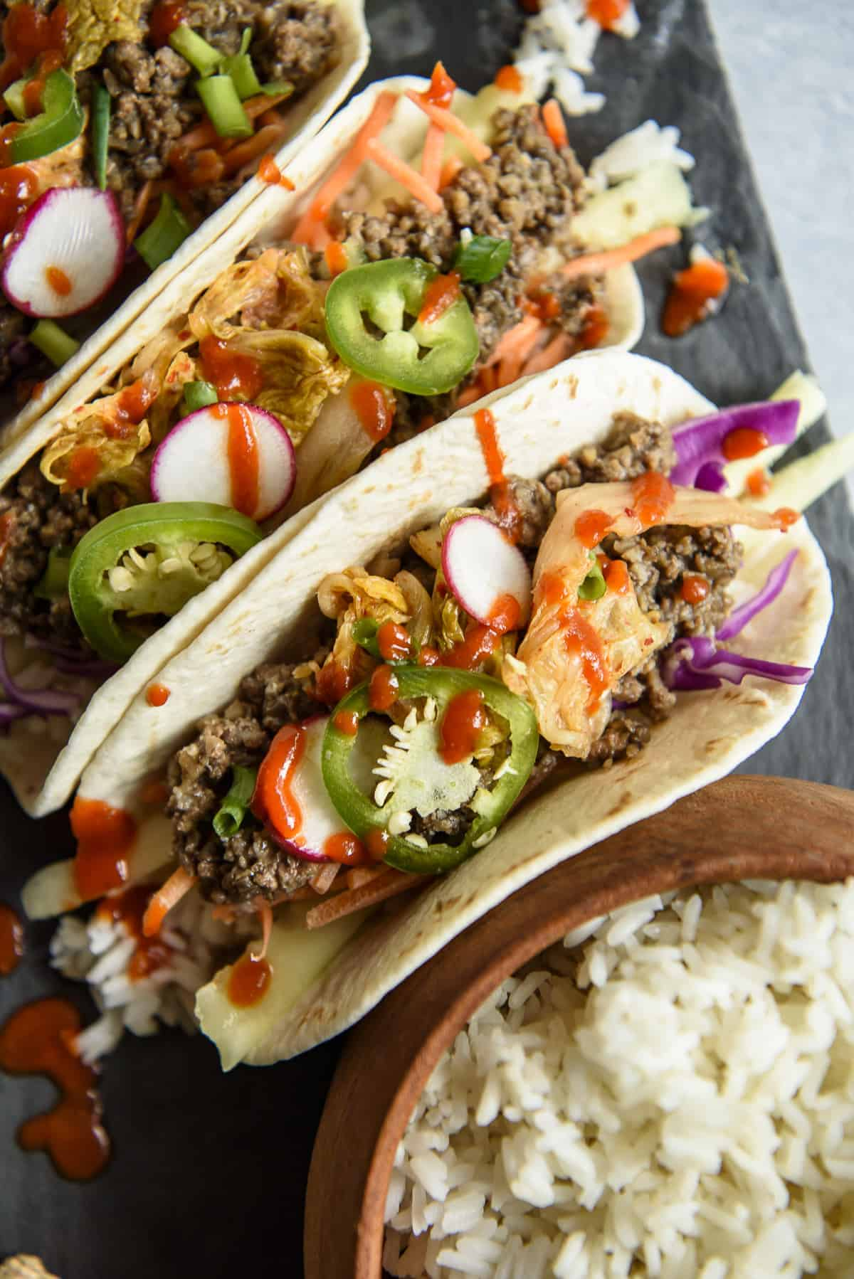 Korean Ground Beef Bulgogi Tacos