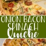 This easy, crowd-pleasing Onion Bacon Spinach Quiche only looks fancy! Thinly sliced sweet onions come together with crispy bacon, fresh spinach, and your favorite cheese in a protein-rich dish that will be your new favorite part of brunch or breakfast.