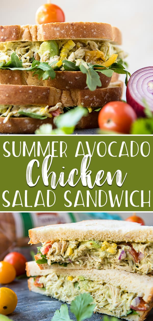 This lightened-up, no mayo Summer Avocado Chicken Salad Sandwich is all you're going to want to eat during those hot months! Shredded chicken breast, grilled corn, red onion, heirloom tomatoes, and cilantro are all mixed up in a mashed avocado, lime, and Greek yogurt base.