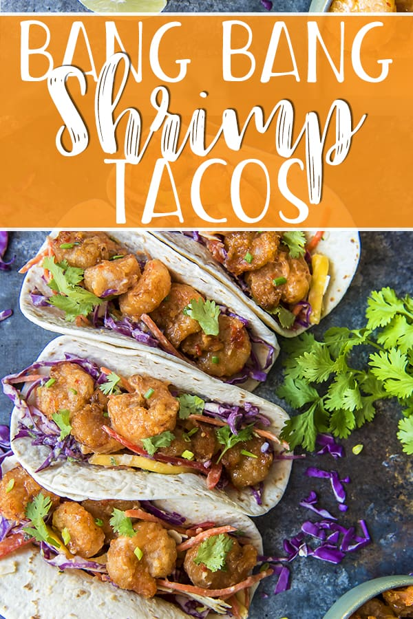 These Bang Bang Shrimp Tacos are where the appetizer meets dinner! Crispy, spicy copycat Bang Bang Shrimp get all wrapped up in your favorite tortillas with a sweet and tangy coconut mango slaw for a flavor explosion that's ready to devour in less than an hour.