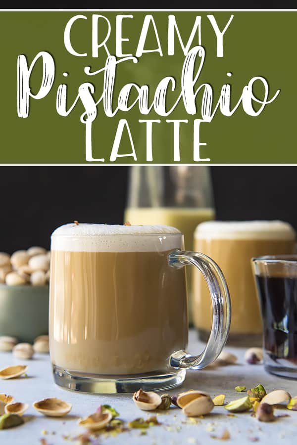 You've never had a cup of coffee like this creamy Pistachio Latte! Freshly brewed espresso, blended with pistachio simple syrup, homemade pistachio milk, and a sprinkle of chopped pistachios on top of a perfect layer of latte foam - it's truly a pistachio lover's dream!