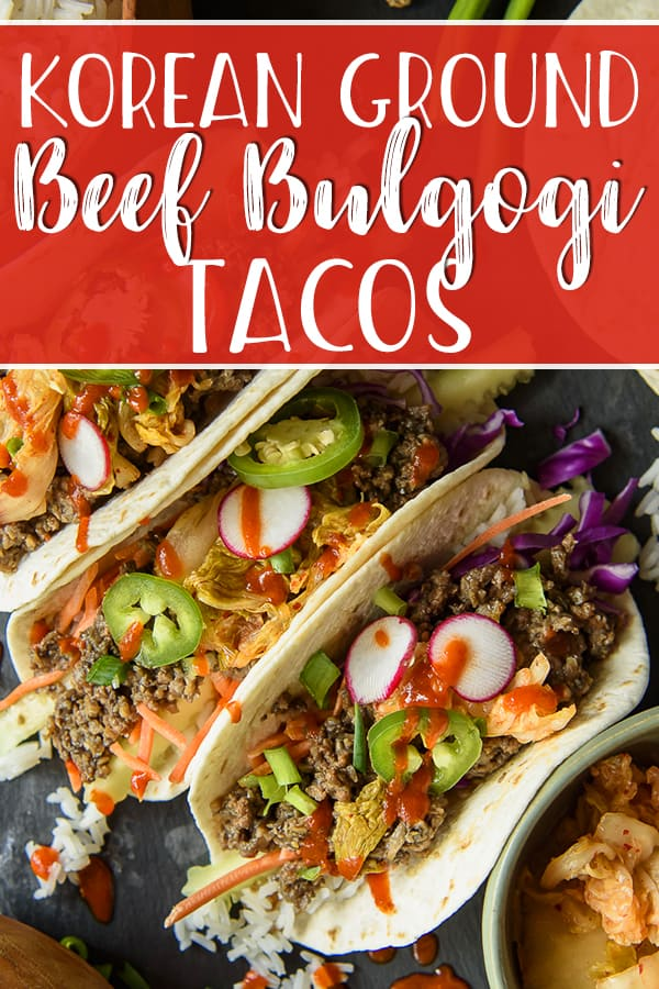 Get dinner on the table in 20 minutes with these Korean Ground Beef Bulgogi Tacos! A Mexican twist on the classic bulgogi recipe replaces the sliced steak with a ground beef & mushroom blend, then it's piled into fresh tortillas with rice, veggies, kimchi, and a drizzle of sriracha!