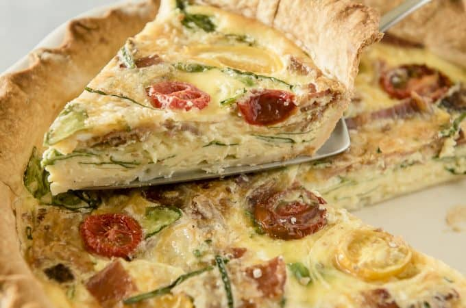 Onion Bacon Spinach Quiche Recipe