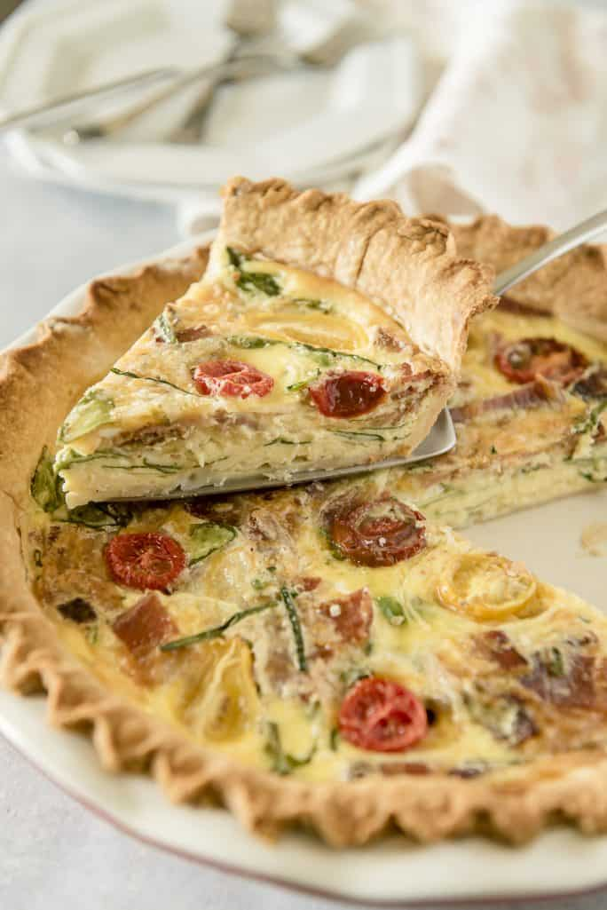Brunchtime Onion Bacon Spinach Quiche The Crumby Kitchen