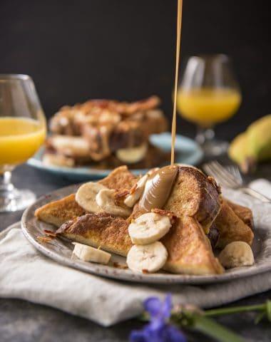 Peanut Butter, Banana, & Bacon Brioche French Toast recipe (Elvis-Style)