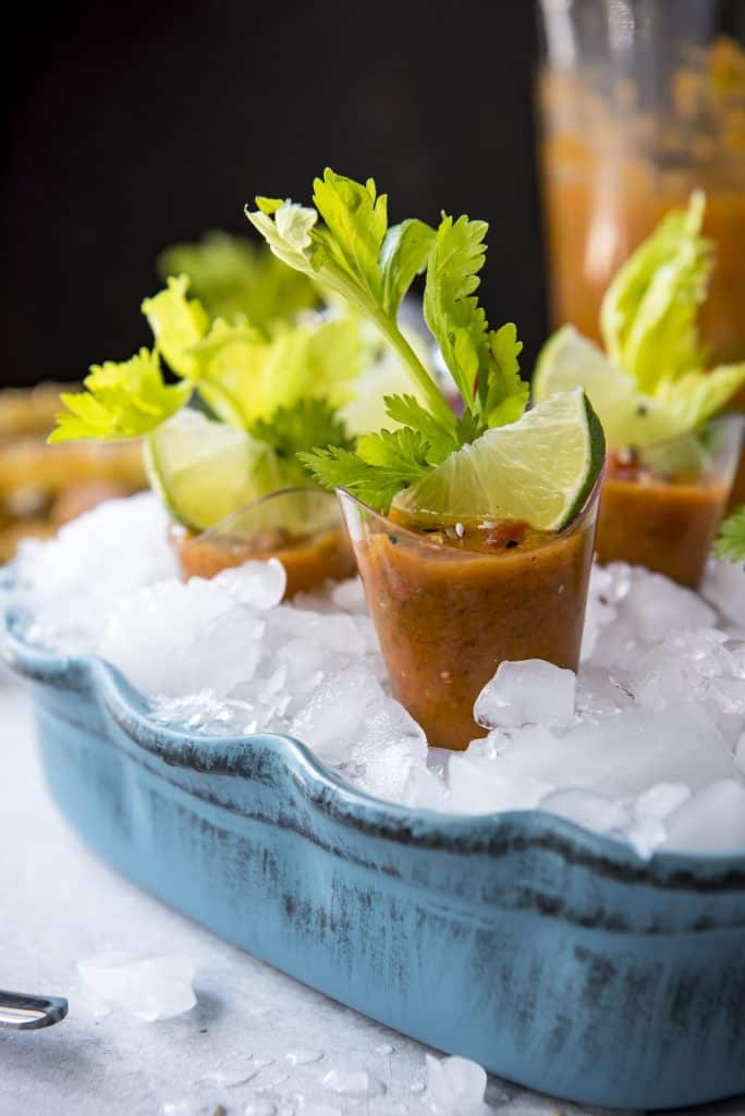 Brunch Gazpacho Shooters with Cheesy Everything Toast Dippers