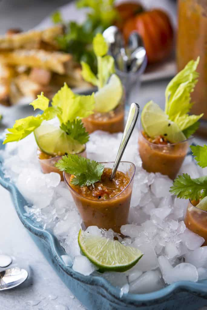 Brunch Gazpacho Shooters with Cheesy Everything Toast Dippers brunch recipe