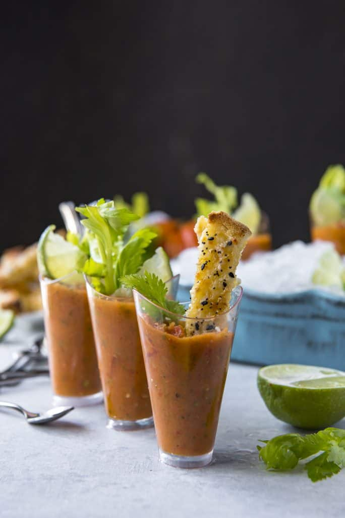 Gazpacho recipe - Brunch Gazpacho Shooters with Cheesy Everything Toast Dippers