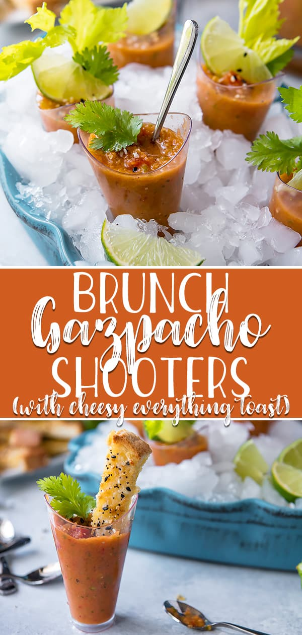 These adorable little Brunch Gazpacho Shooters are a fabulous way to celebrate the bounty that is summer produce! The cool and refreshing gazpacho recipe combines heirloom tomatoes, tomatillos, and roasted red peppers with a delicious blend of Spanish flavors that are perfect for a brunchtime palate cleanser.