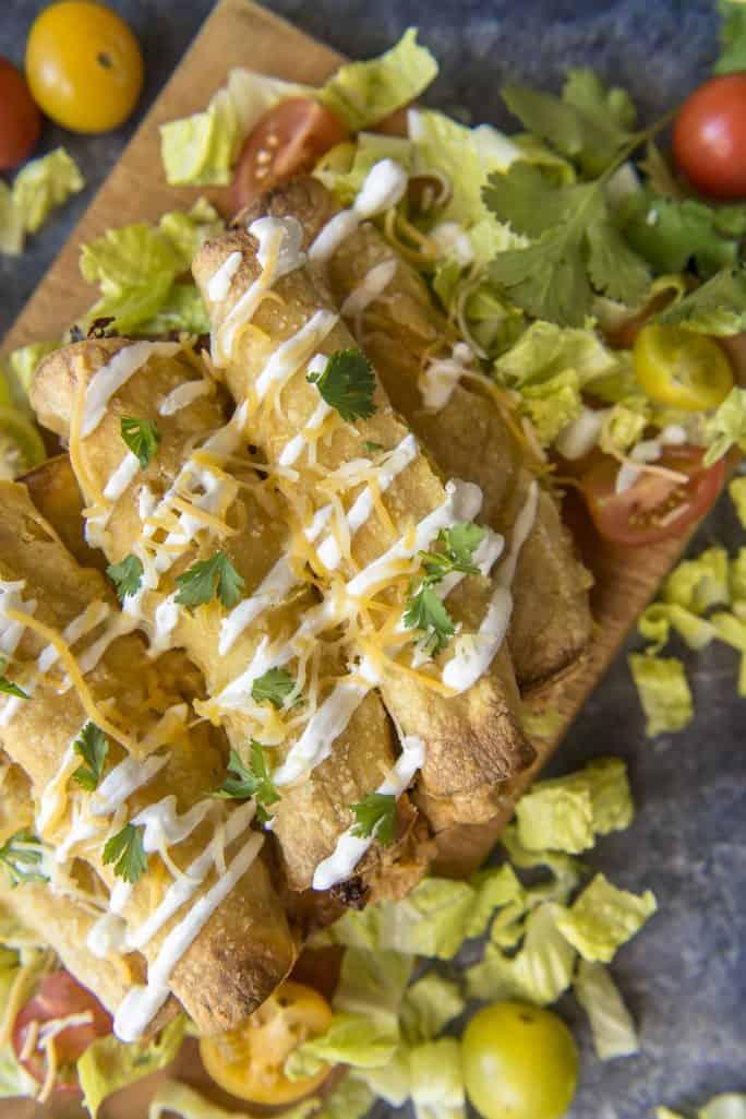 Oven Baked Creamy Cilantro Chicken Taquitos