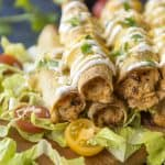Oven baked Creamy Cilantro Chicken Taquitos recipe