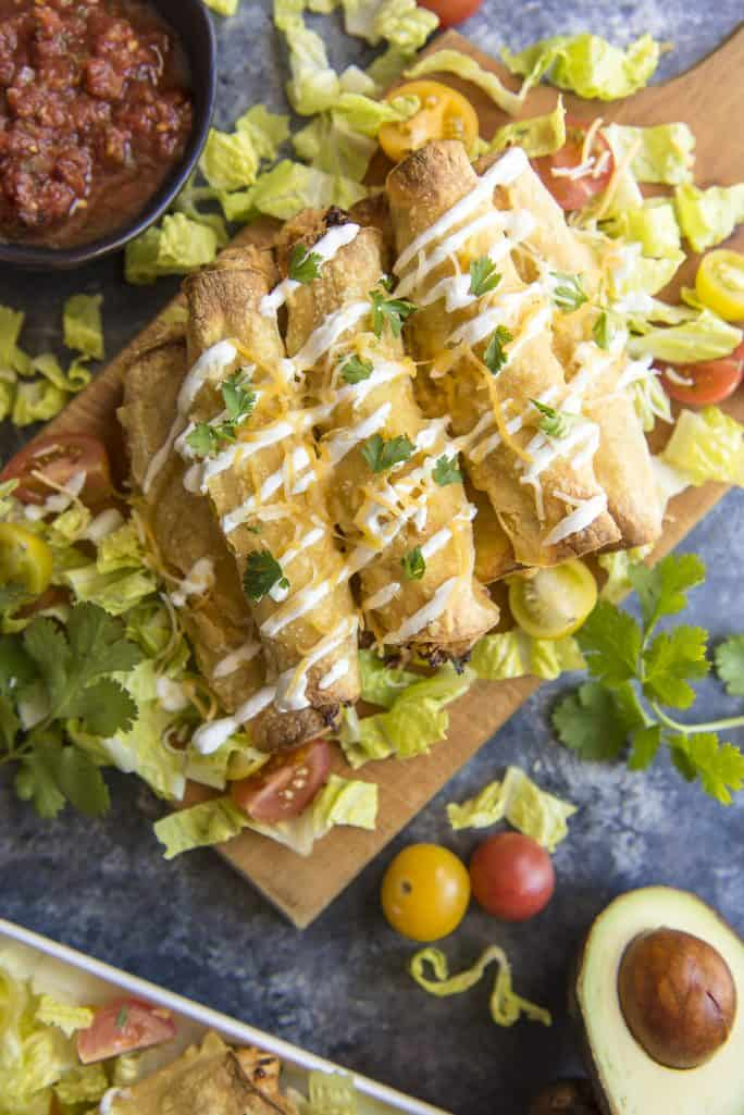 Creamy Cilantro Chicken Taquitos recipe