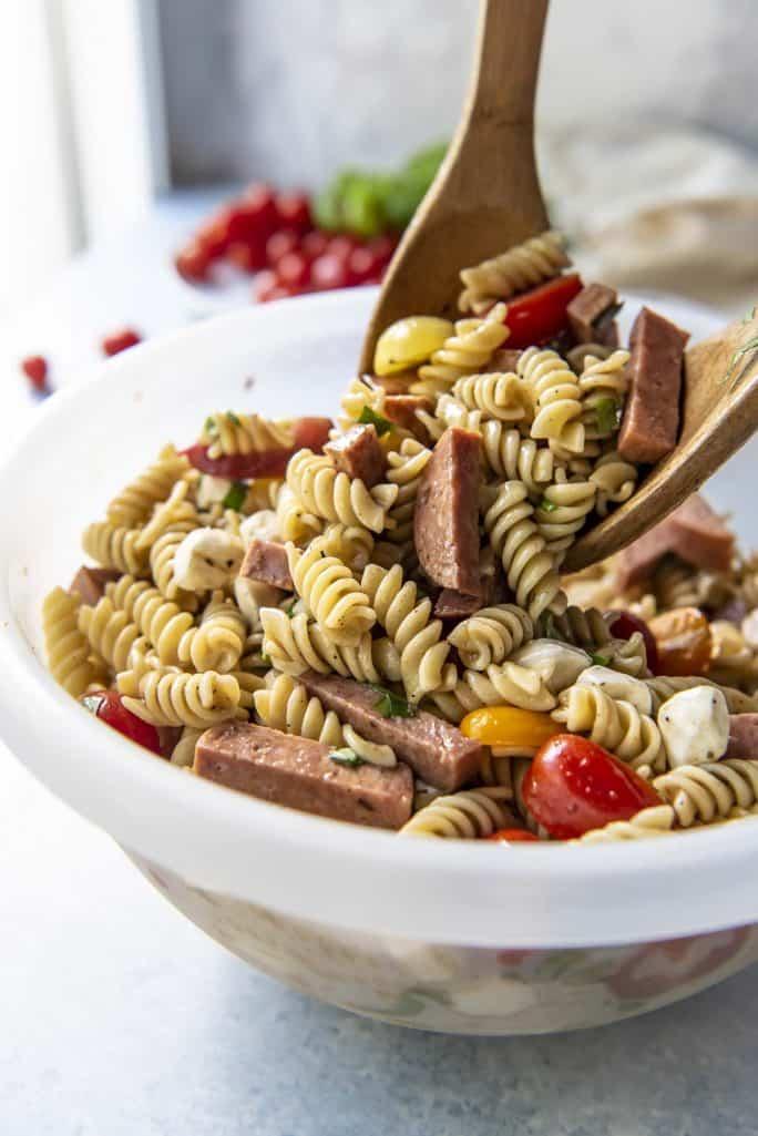 Tossing Caprese Pasta Salad