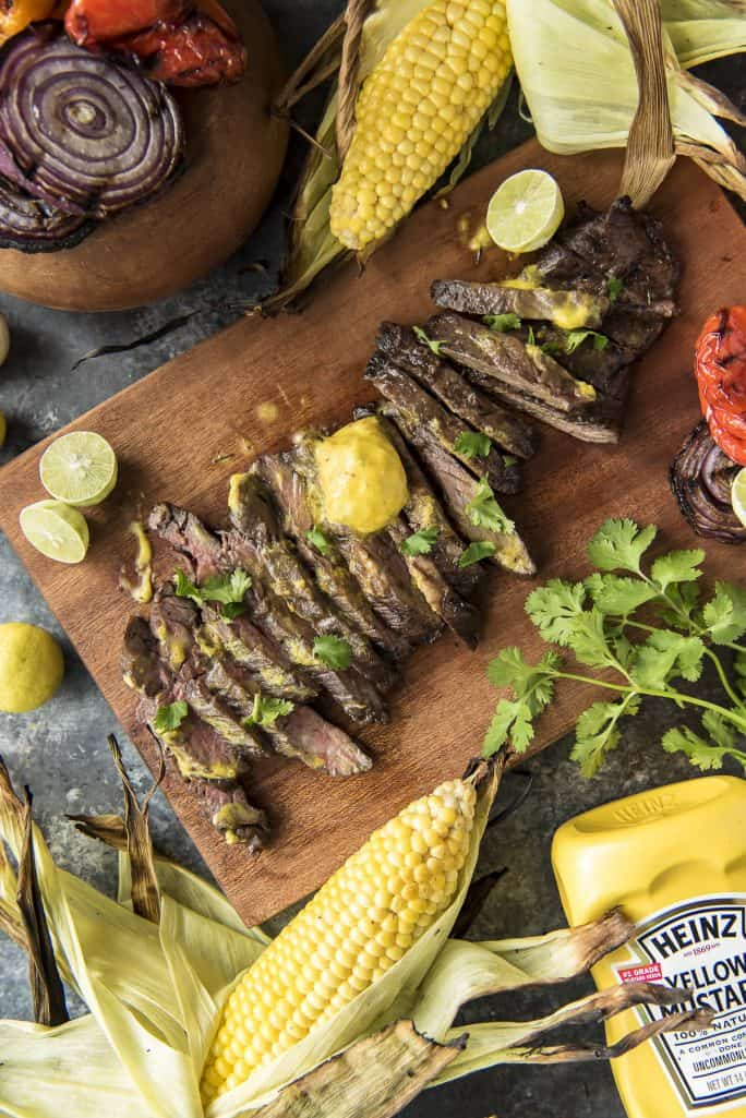 Grilled Skirt Steak with Mojo Mustard Butter recipe