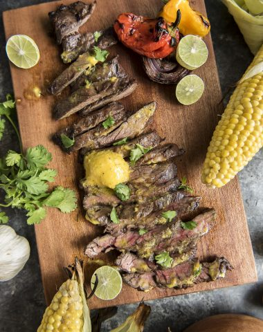 Grilled Skirt Steak with Mojo Mustard Butter