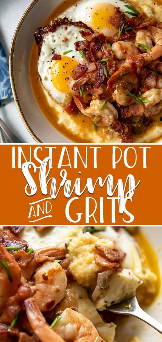 Enjoy a taste of the South with a batch of this cheesy Shrimp and Grits, an easy brunch recipe completely prepared in your Instant Pot in about 30 minutes! Salty bacon, spicy sauteed tomatoes, and crispy fried eggs share the bowl with juicy shrimp and creamy grits in this comforting dish.