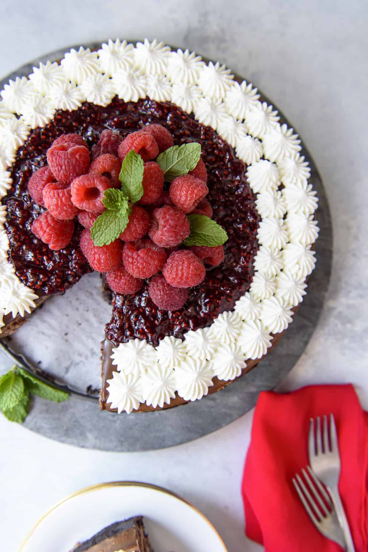 Raspberry Chocolate Cheesecake #BrunchWeek