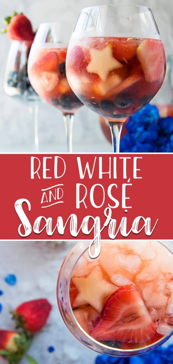 This patriotic Red White & Rose Sangria is the cool, refreshing cocktail you need this summer! A dry rosé wine base, naturally sweetened with watermelon, berries, and pear, is chilled with orange liqueur and tequila before being served with sparkling water and lots of crushed ice.