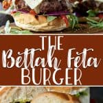 This almost-Mediterranean Bettah Feta Burger recipe isn't just a cutesy name - it's your new favorite burger! Stuffed with crumbled feta cheese, these babies are then topped with peppery arugula, juicy roasted red peppers, crispy bacon, and even more creamy whipped feta for a crazy flavor explosion!