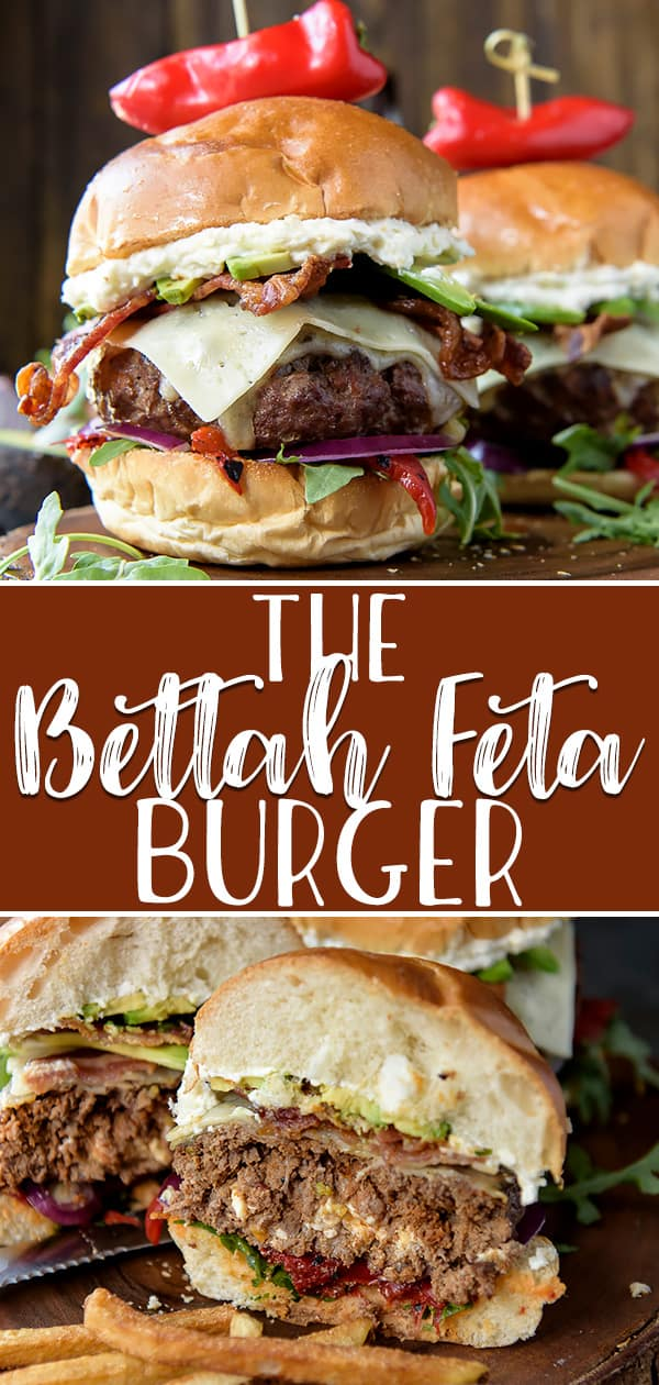This almost-MediterraneanBettah Feta Burger recipe isn't just a cutesy name - it's your new favorite burger! Stuffed with crumbled feta cheese, these babies are then topped with peppery arugula, juicy roasted red peppers, crispy bacon, and even more creamy whipped feta for a crazy flavor explosion!