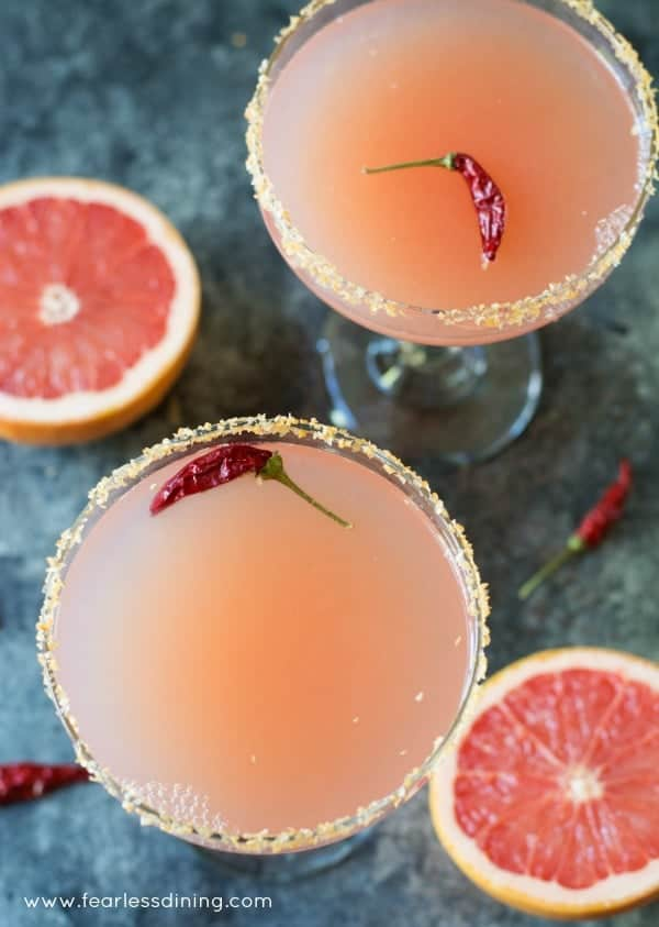 21 Refreshing Summer Cocktails Perfect for Brunch - Pink Grapefruit Margaritas with Sriracha Salt