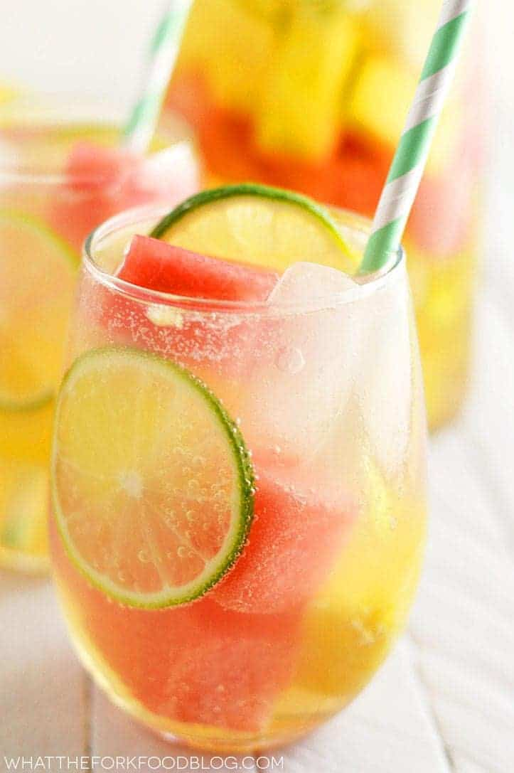 21 Refreshing Summer Cocktails Perfect for Brunch - Summer Sangria with Watermelon and Pineapple