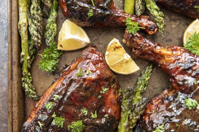 BBQ Grilled Chicken Leg Quarters flatlay