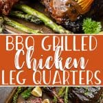 Simply seasoned with spice rub and basted on the grill, these BBQ Grilled Chicken Leg Quarters are a juicy & delicious addition to any cookout! Brush on some of your favorite barbecue sauce for a perfectly sticky and smoky summer dinner.