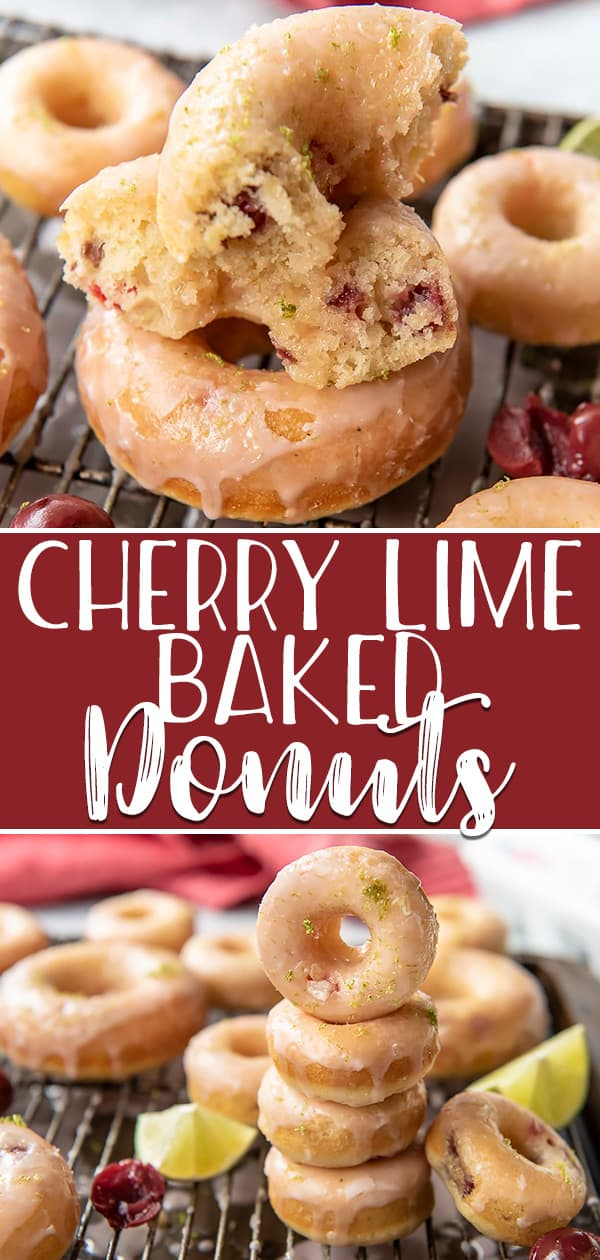Hot, fresh breakfast treats are possible with these super simpleCherry Lime Baked Donuts - they're ready to eat in about 30 minutes! Skip the deep fryer and opt for the oven for these cherry-vanilla flavored cake donuts, then cover them in an irresistibly sweet-tart cherry lime glaze.