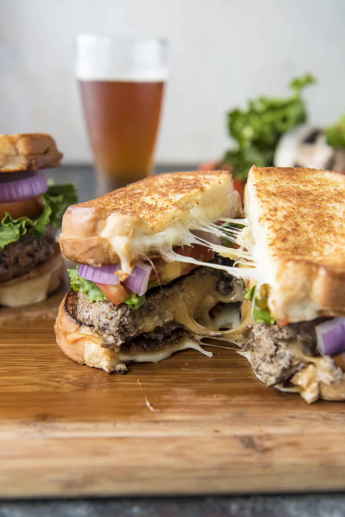 Grilled Cheese Beef and Mushroom Juicy Lucy