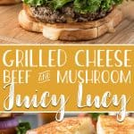 Take your favorite summer meal and elevate it in these Grilled Cheese Beef and Mushroom Juicy Lucy burgers! Seasoned, blended ground beef & mushroom patties are sandwiched between two toasty grilled cheese sandwiches instead of buns - making these burgers a cheese lover's dream!