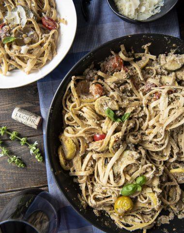 Summer Vegetable Ricotta Pesto Pasta top shot