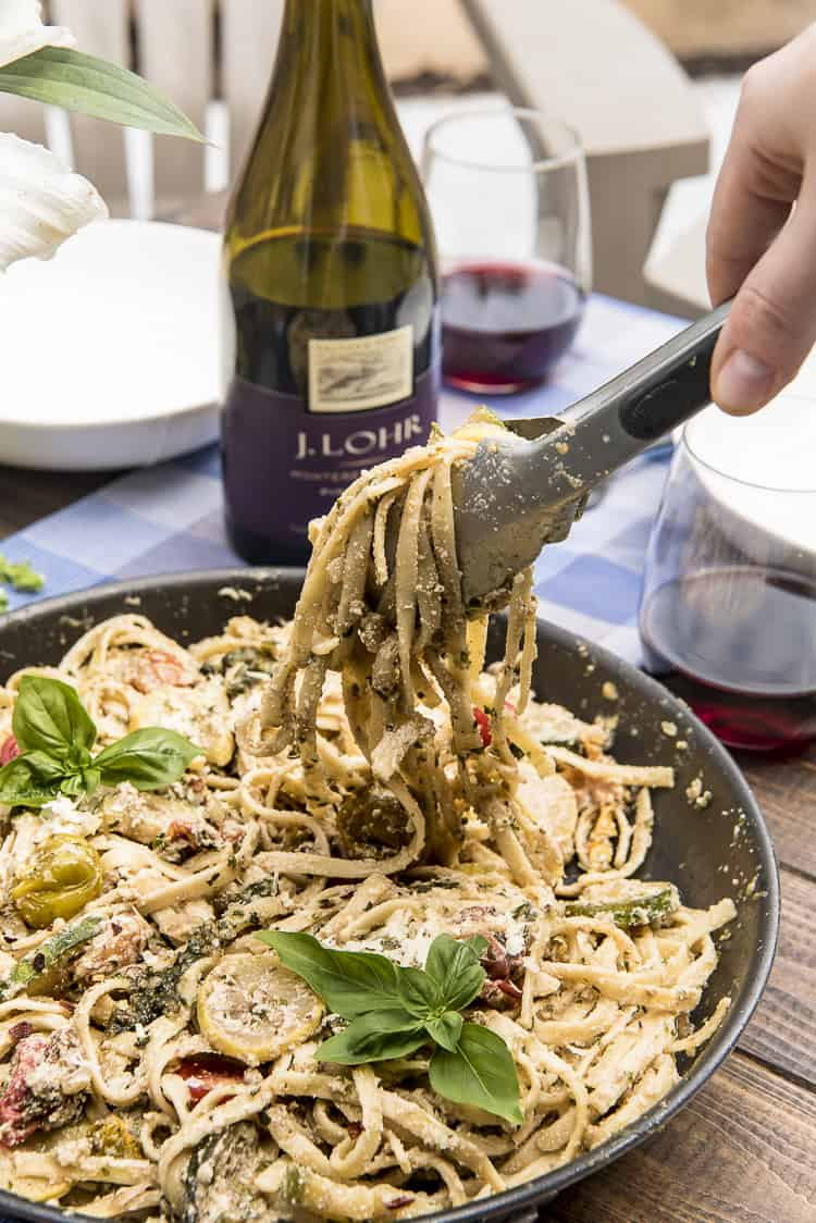 Scoop of Summer Vegetable Ricotta Pesto Pasta