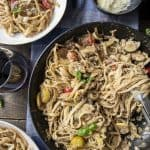 Summer Vegetable Ricotta Pesto Pasta flatlay