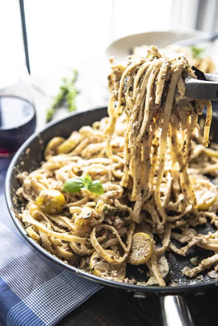 Summer Vegetable Ricotta Pesto Pasta recipe
