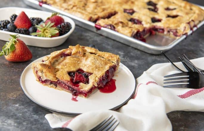Triple Berry Slab Pie on plate