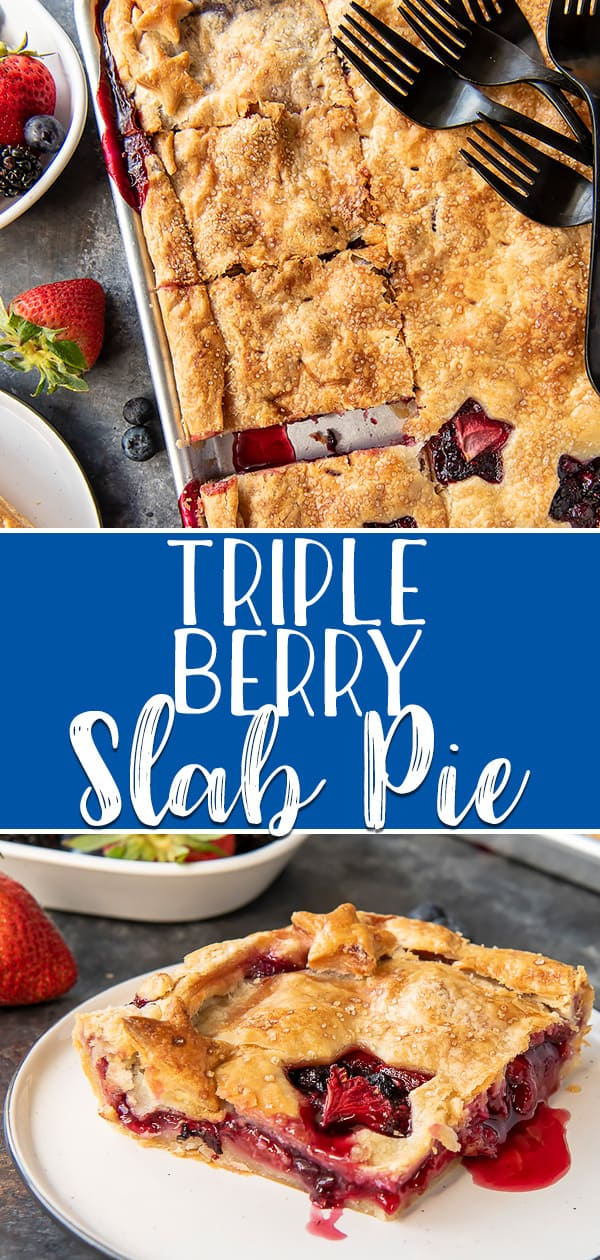 This Triple Berry Slab Pie, made with fresh strawberries, blueberries, and blackberries, is a delicious way to feed a crowd at any backyard cookout, block party, or potluck! The super flaky all-butter crust is the star of the show, but the gooey berry filling shines with every bite!