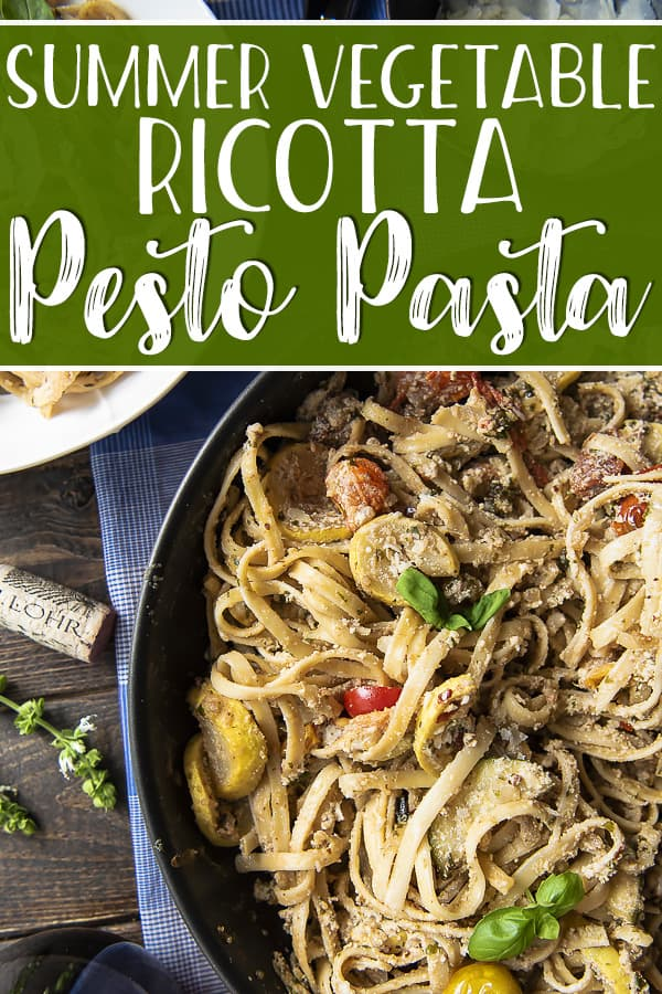 Summer dinners aren't just about grilling, and thisSummer Vegetable Ricotta Pesto Pasta proves it! Fresh zucchini, tomatoes, and basil pesto team up with creamy ricotta and your favorite pasta in a dreamy summer dinner that's perfect for date night!
