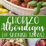 Switch up your appetizer game with these Chorizo Albondigas! These Spanish meatballs, made with chorizo and ground beef, are cooked in a rich, spicy tomato sauce and fit perfectly on any Spanish Tapas Platter.